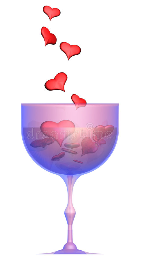 Coeurs donnant en glace avec du vin photo stock