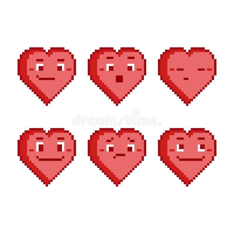 Coeurs drôles réglés de pixel illustration stock