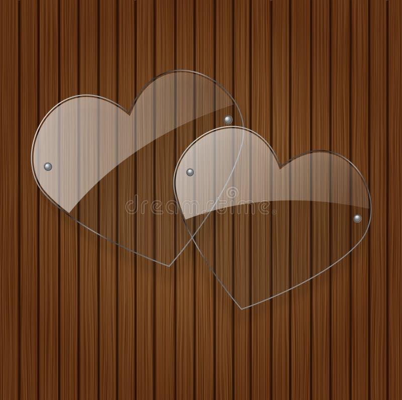 Coeurs en verre du vecteur deux. illustration de vecteur