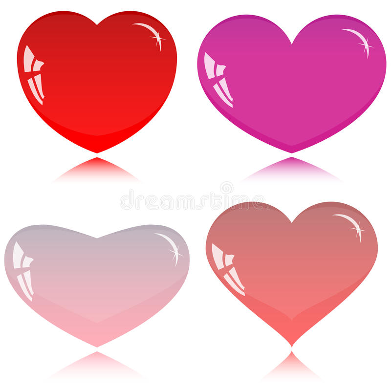 Coeurs en verre pour votre conception illustration de vecteur