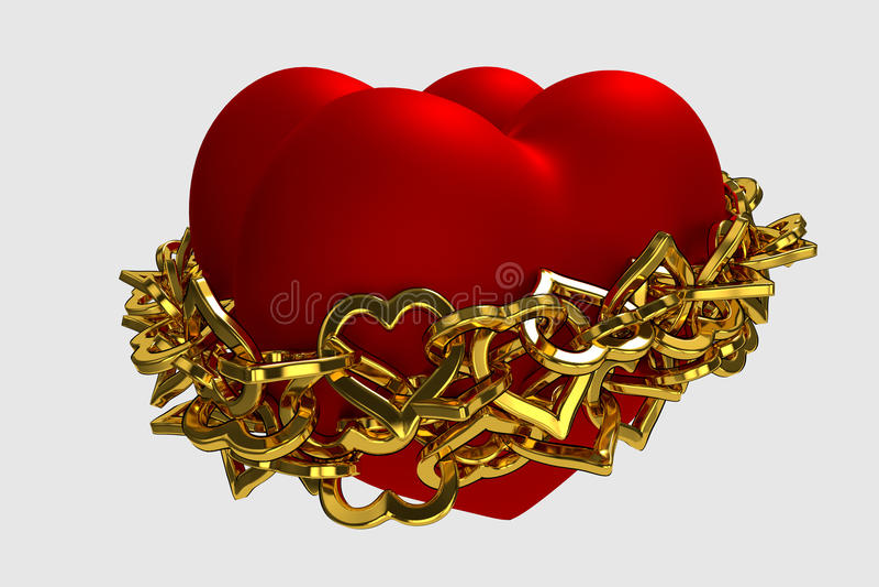 Coeurs enchaînés illustration de vecteur
