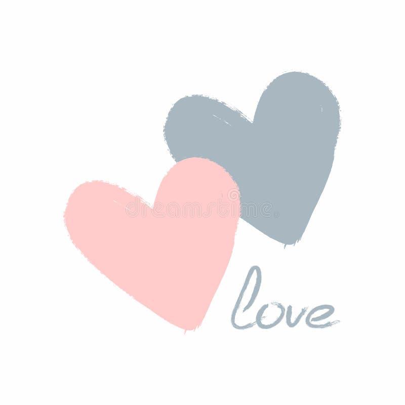 Coeurs et amour manuscrit de mot Croquis, grunge, graffiti, aquarelle Affiche mignonne, copie, carte, autocollant Blanc, bleu, ro illustration stock