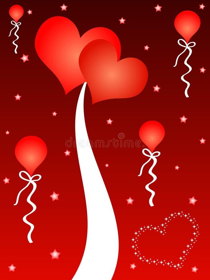 Coeurs et ballons rouges illustration de vecteur