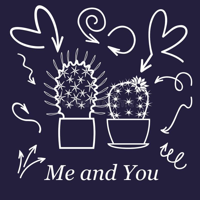 Coeurs et cactus Couples mignons de cactus d'amour ou d'amitié sur la carte de griffonnage de valentine avec des coeurs d'affecti illustration stock