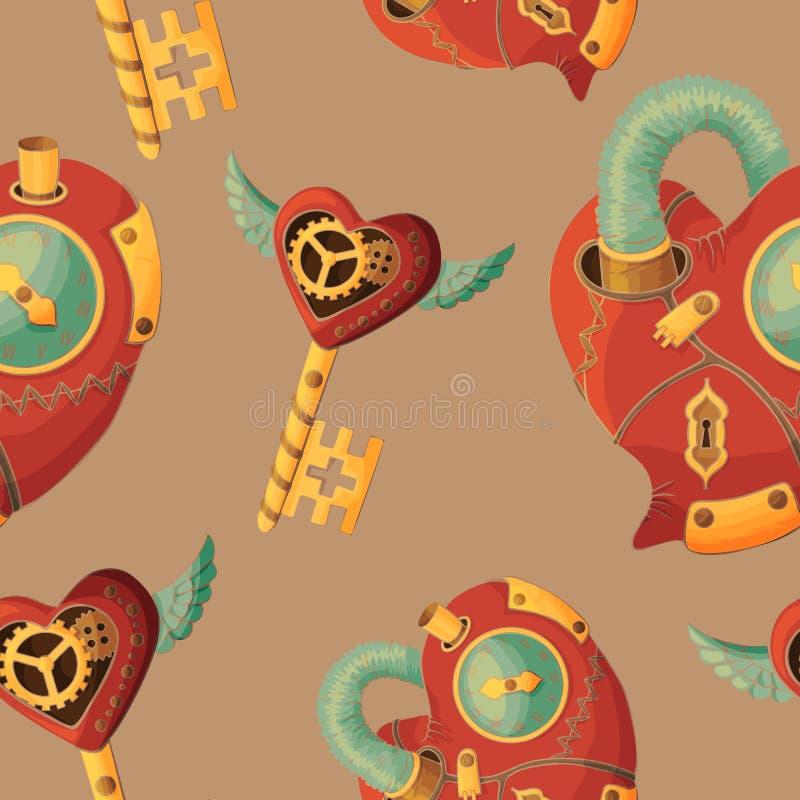 Coeurs et clés sans couture de steampunk de modèle sur le fond de café illustration stock