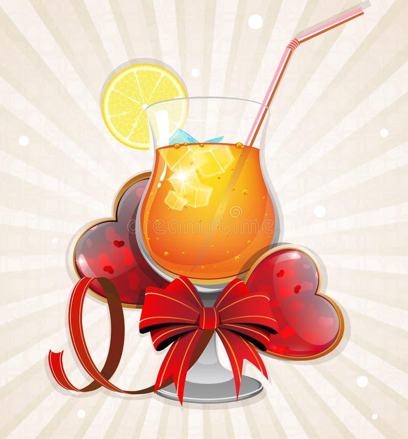 Coeurs et cocktail de Valentine illustration de vecteur