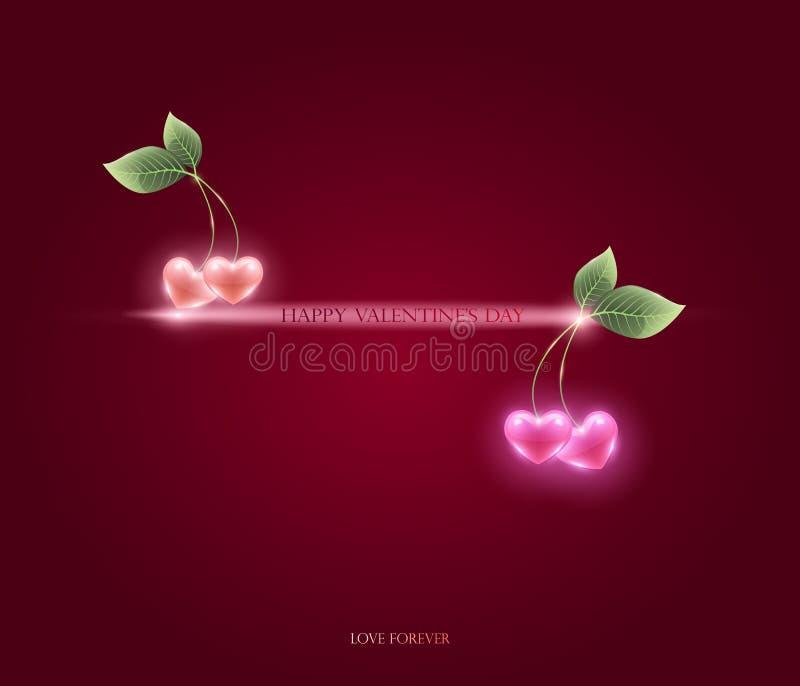 Coeurs et feuille roses de cerise, vecteur félicitations sur Valentin illustration de vecteur