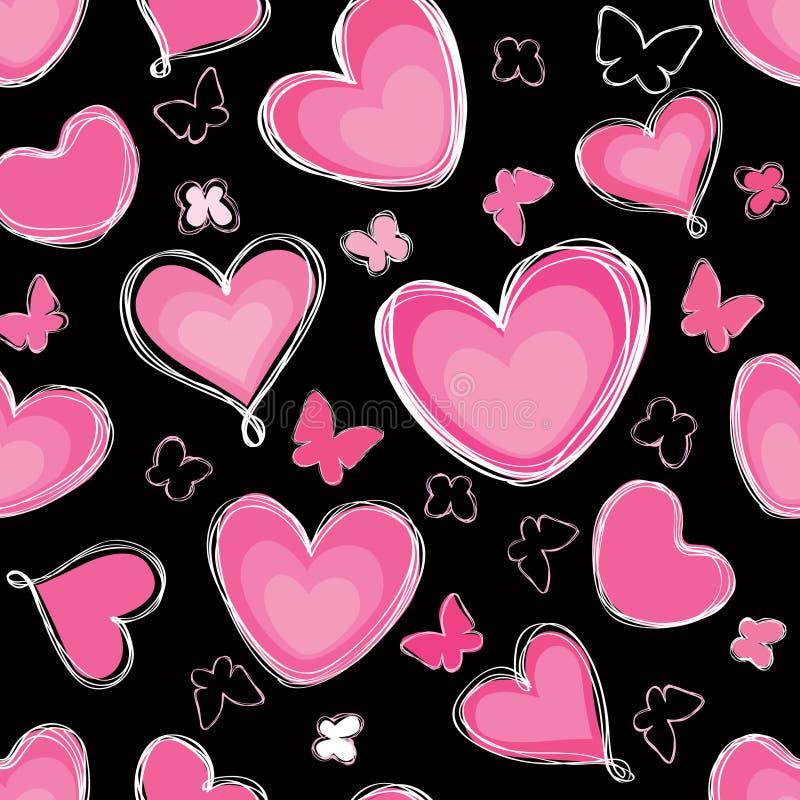 Coeurs et paintbrus sans couture de fond de papillon illustration libre de droits