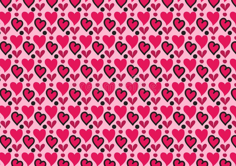 Coeurs et papier peint roses de modèle de cercles illustration libre de droits