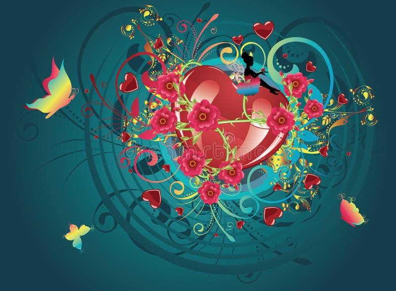 Coeurs et roses illustration stock