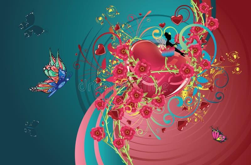 Coeurs et roses illustration de vecteur