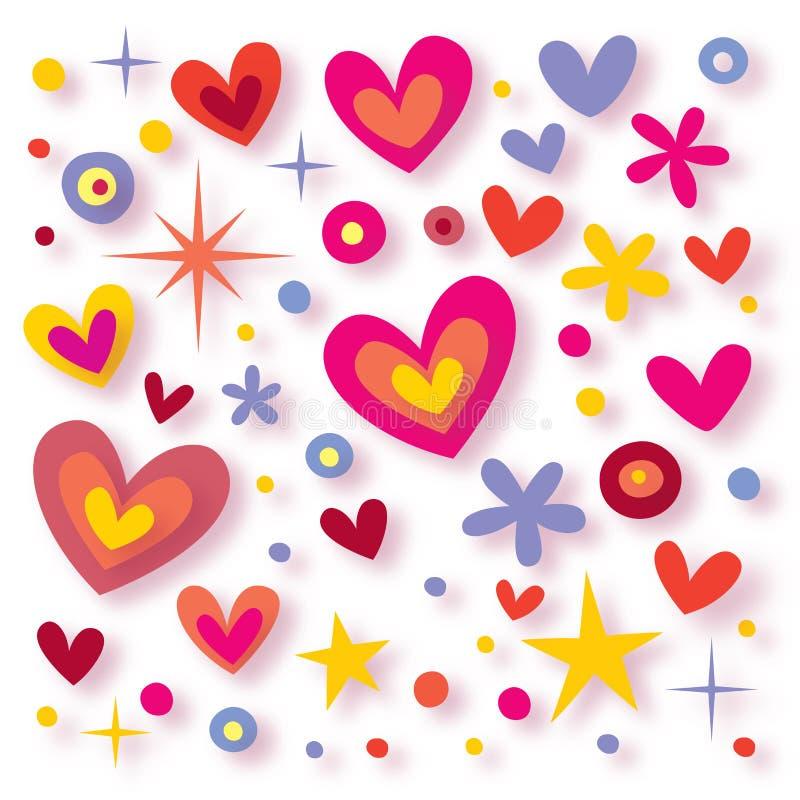 Coeurs, fleurs et étoiles illustration de vecteur