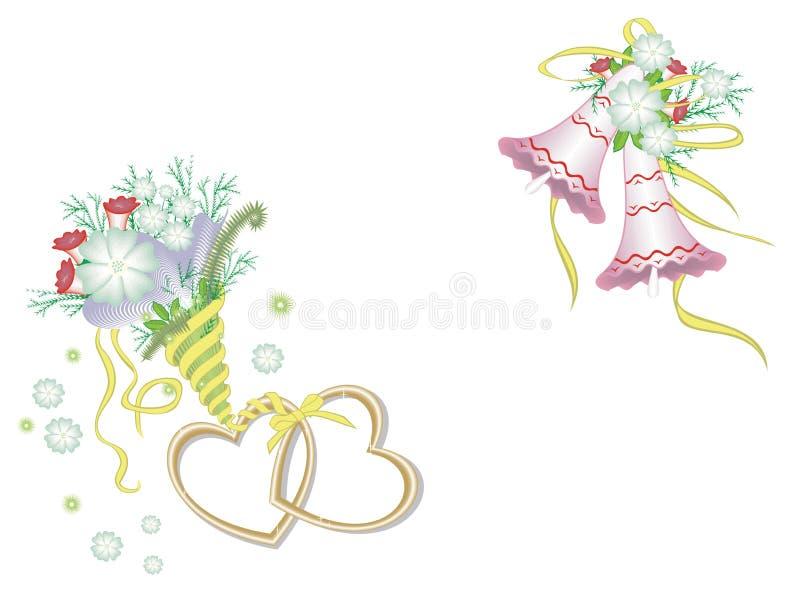 Coeurs, fleurs et cloches photographie stock libre de droits