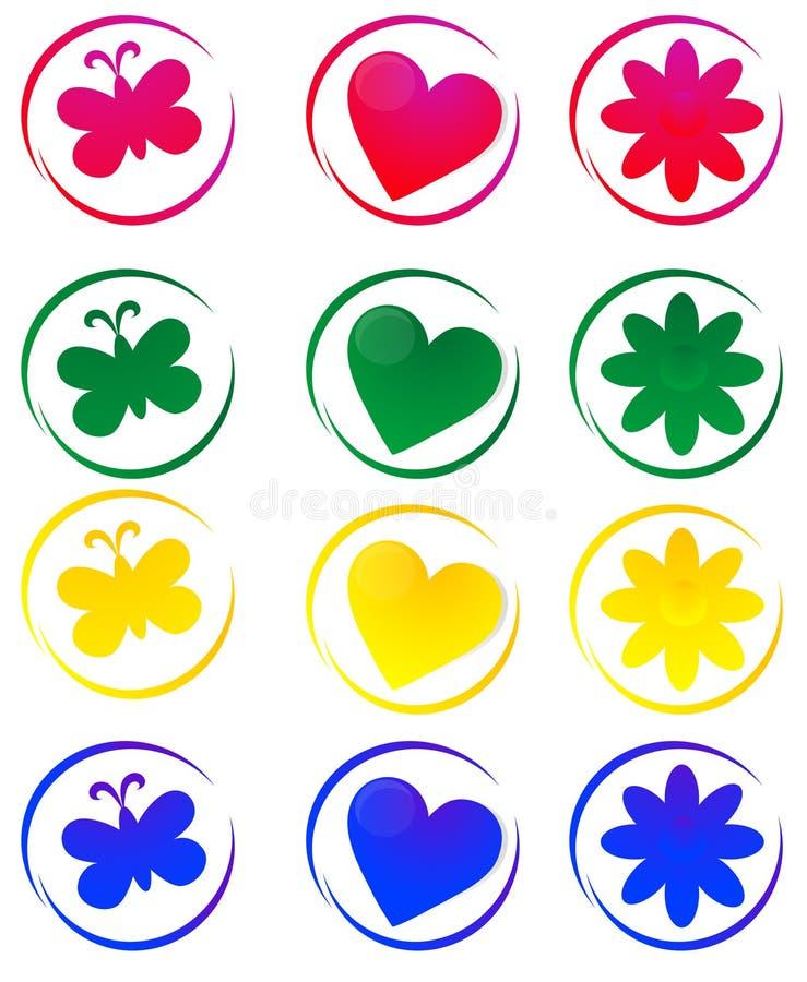 Coeurs, fleurs et guindineaux illustration stock