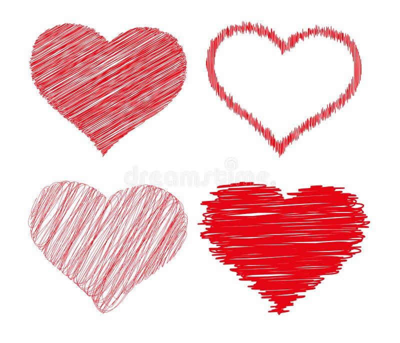 Coeurs griffonnés photo libre de droits