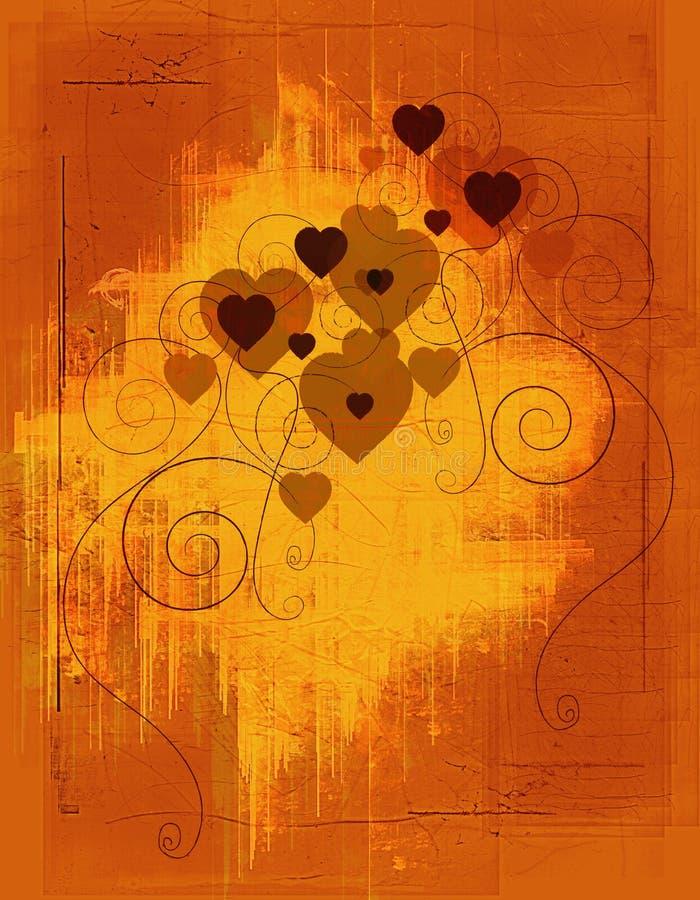 Coeurs grunges ambres illustration de vecteur