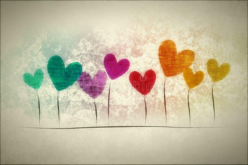 Coeurs grunges de fond illustration de vecteur