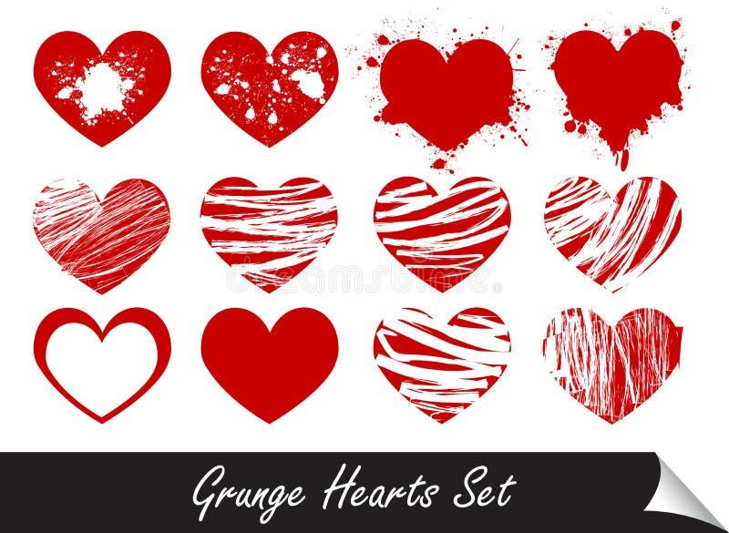 Coeurs grunges réglés illustration de vecteur