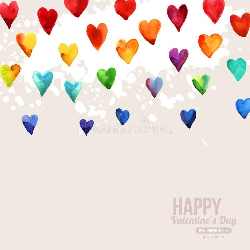 Coeurs heureux de jour de valentines d'aquarelle d'arc-en-ciel illustration de vecteur