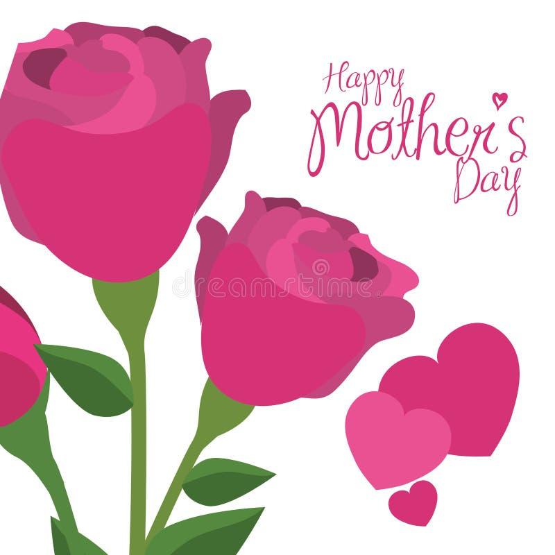 Coeurs heureux de roses de rose de jour de mères décoratifs illustration de vecteur