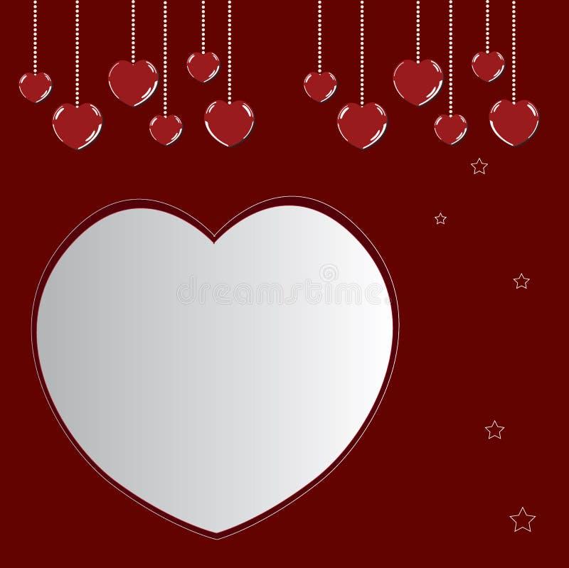 Coeurs heureux de valentine sur le rouge photos stock