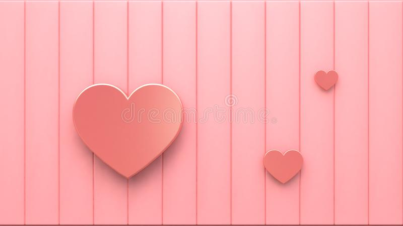 Coeurs métalliques roses sur le plancher rose 3d rendant le fond abstrait minimal de concept de valentine d'amour illustration libre de droits