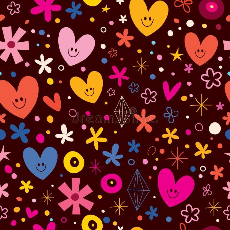 Coeurs mignons et modèle sans couture d'amour de fleurs illustration de vecteur