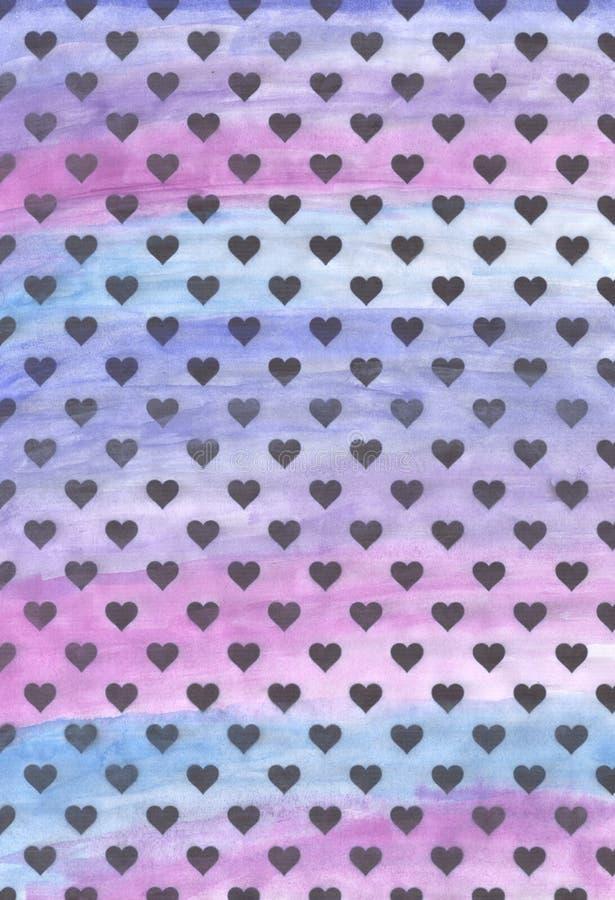 Coeurs noirs sur un fond pourpre fond des coeurs noirs Fond violet d'aquarelle photos libres de droits