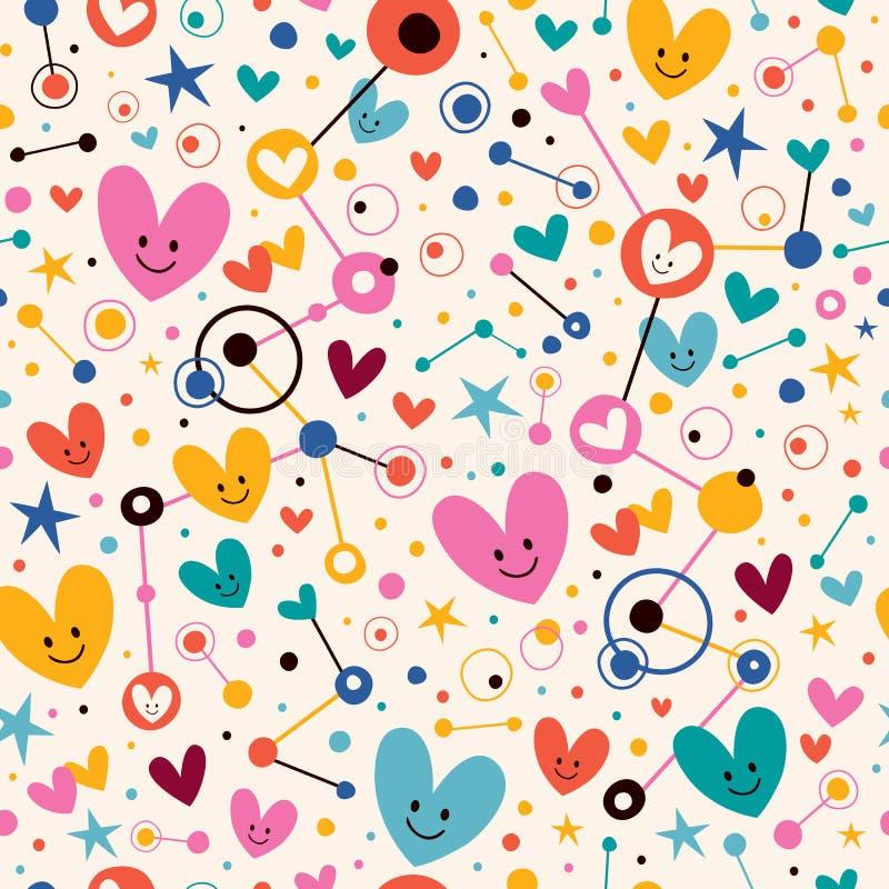 Coeurs, points et modèle génial de bande dessinée d'étoiles illustration de vecteur