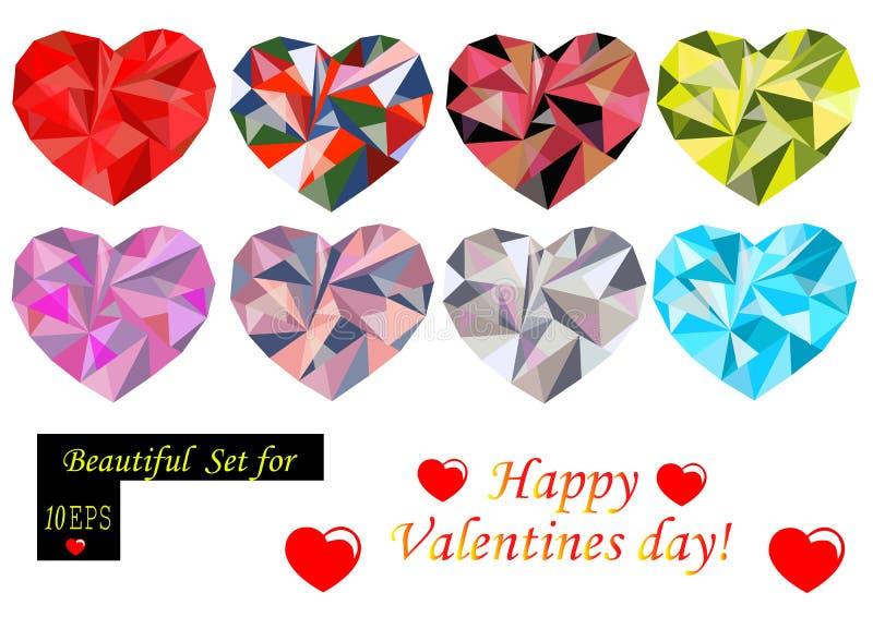 Coeurs polygonaux réglés image stock