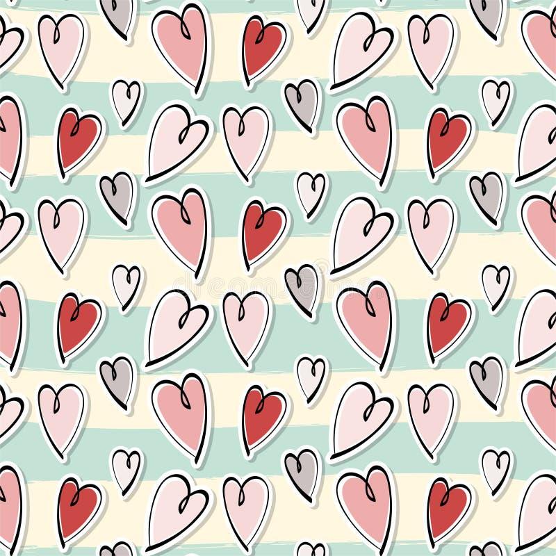 Coeurs romantiques mignons valentine' ; fond de modèle de jour de s illustration de vecteur