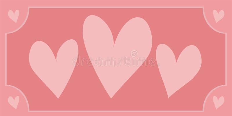 Coeurs roses avec le fond illustration libre de droits