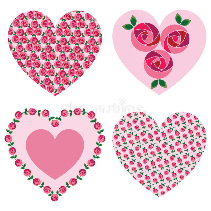 Coeurs roses de valentine de mod illustration libre de droits