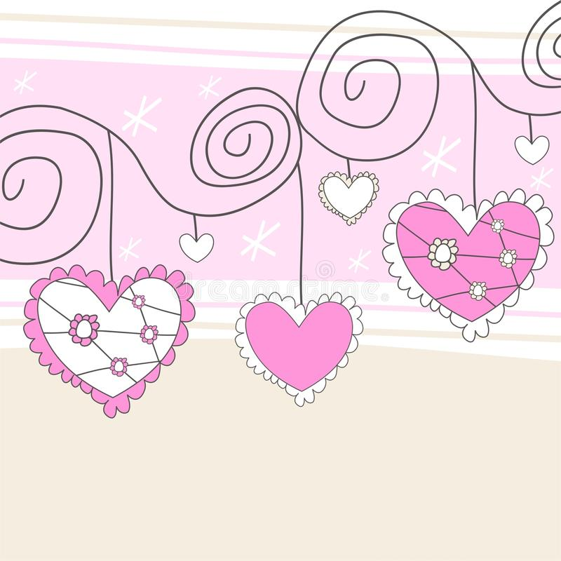 Coeurs roses et blancs illustration stock