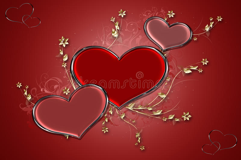 Coeurs rouges illustration stock