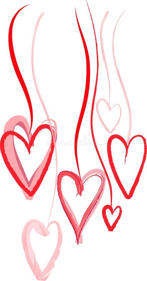 Coeurs rouges décoratifs illustration de vecteur