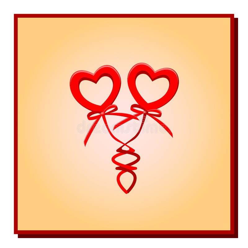 Coeurs rouges de l'illustration deux avec des arcs des ressorts dans un cadre de gradient sur un fond blanc pour une félicitation illustration stock