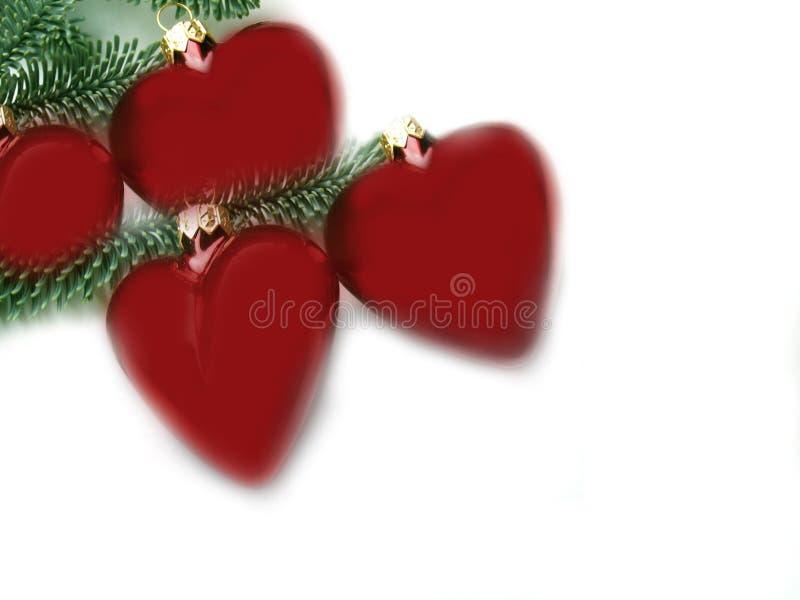 Coeurs rouges de Noël   images stock