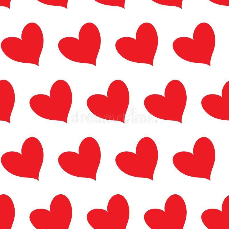 Coeurs rouges de suffisance en alignement diagonal d'isolement à un arrière-plan infini sans couture transparent blanc de modèle illustration libre de droits