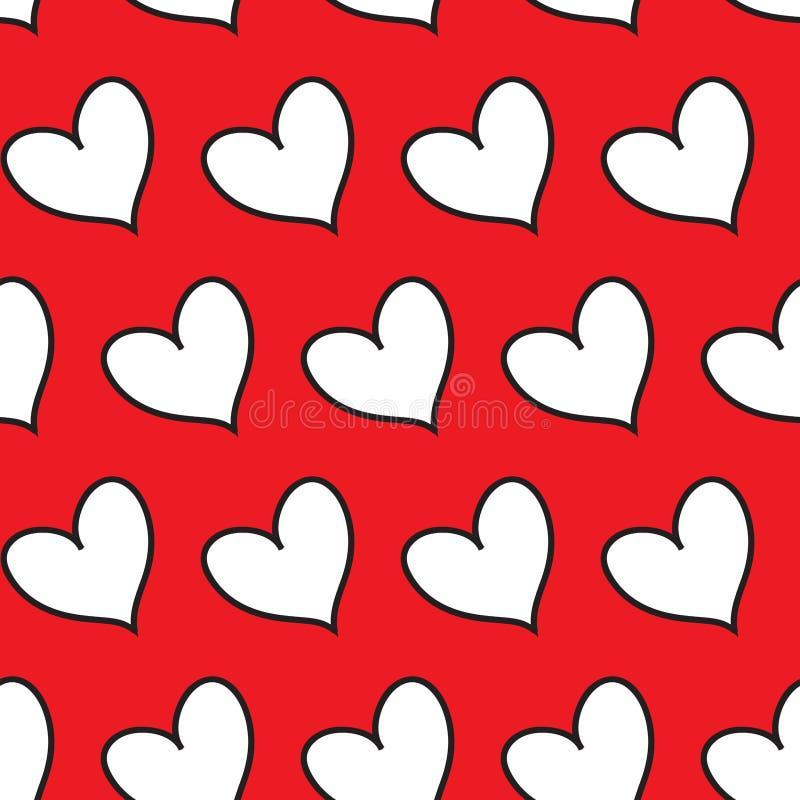 Coeurs rouges de suffisance en alignement diagonal d'isolement à un arrière-plan infini sans couture transparent blanc de modèle illustration de vecteur