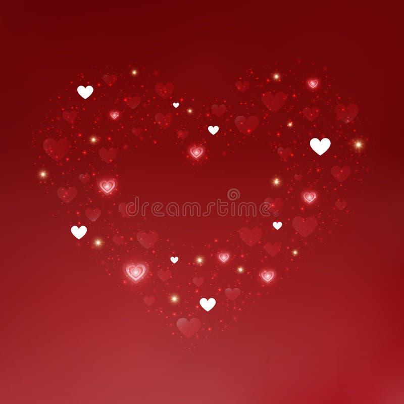 Coeurs rouges et blancs de jour de valentines à l'arrière-plan illustration de vecteur