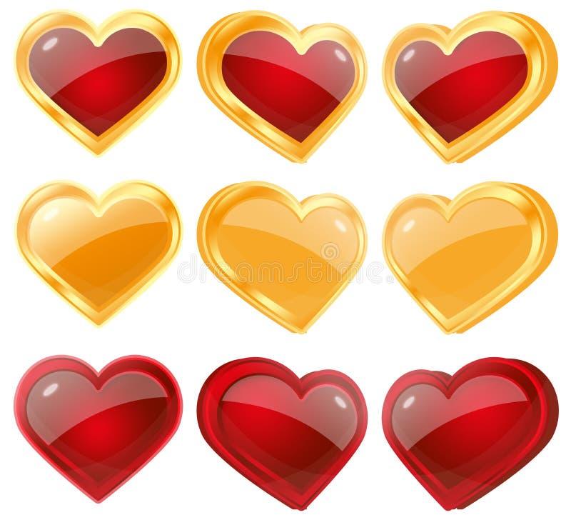 Coeurs rouges et jaunes images libres de droits