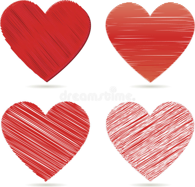 Coeurs rouges pour le jour de valentines   illustration de vecteur