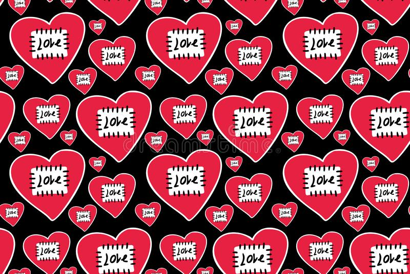 Coeurs rouges tirés par la main dans le contour blanc avec le fil cousu par correction et le mot noir illustration stock