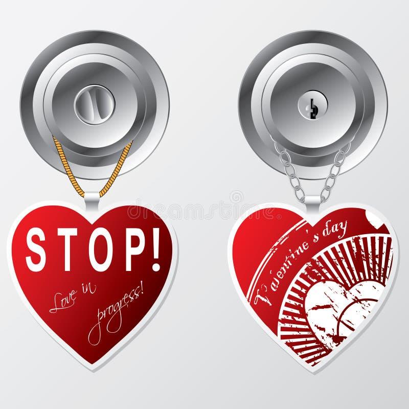 Coeurs s'arrêtant sur la molette de trappe illustration de vecteur