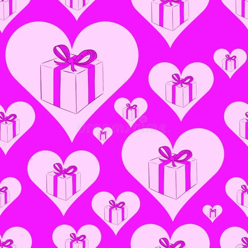 Coeurs sans couture avec des cadeaux illustration libre de droits