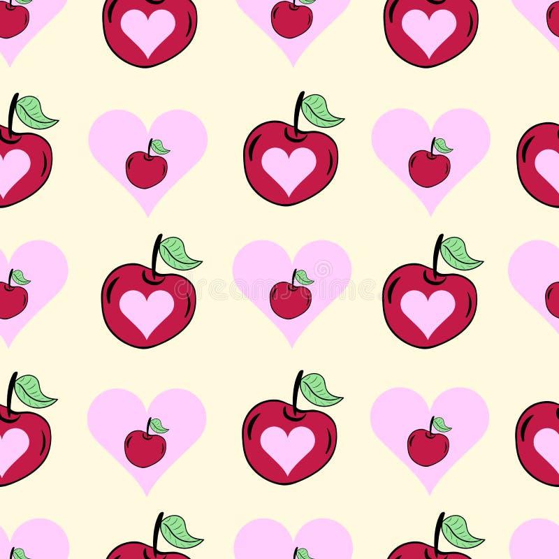 Coeurs sans couture avec la cerise illustration libre de droits