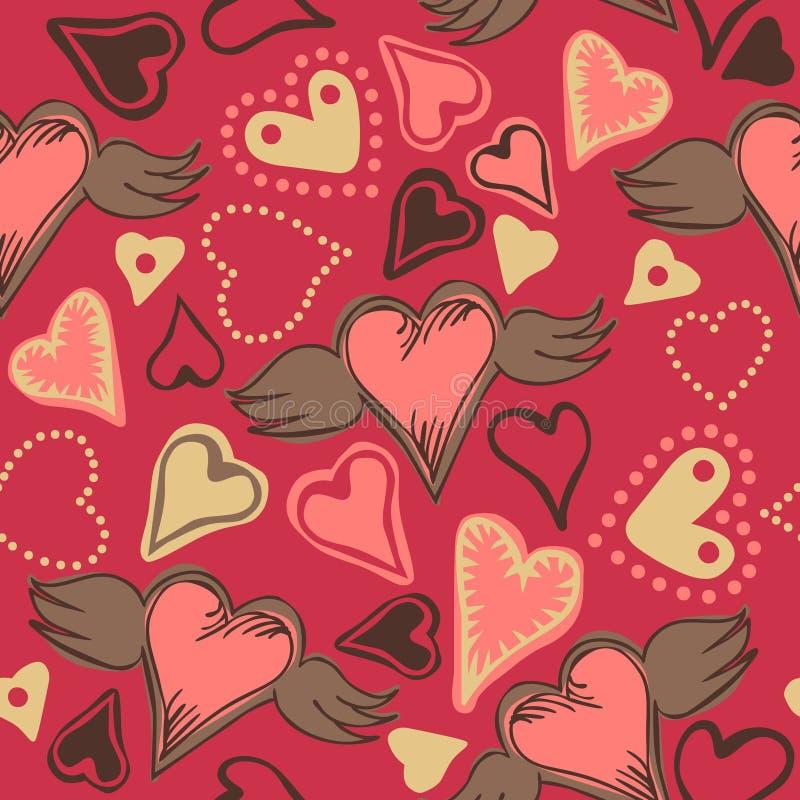 Coeurs sans couture de griffonnage sur le fond rose illustration stock