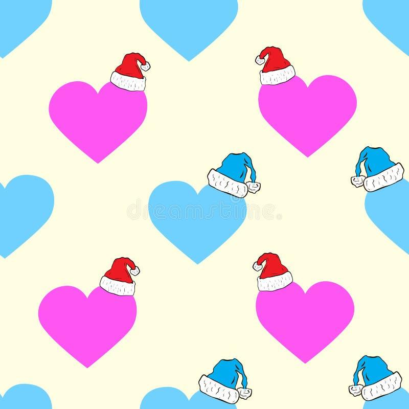 Coeurs sans couture de Noël illustration stock