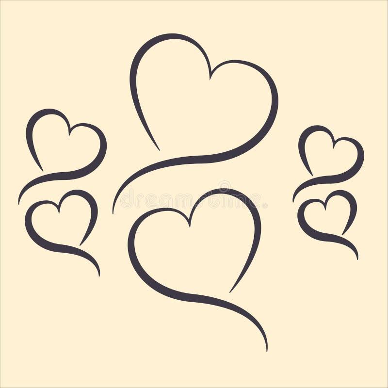 Coeurs sous forme de lignes photographie stock libre de droits